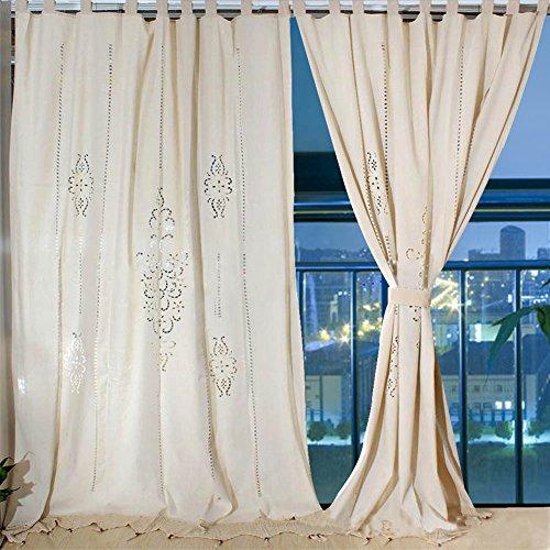 Aparty4u - Cortinas de Lino Grandes, diseño Floral, algodón Crochet, Paneles opacos para Ventana de recámara de 255 x 175 cm