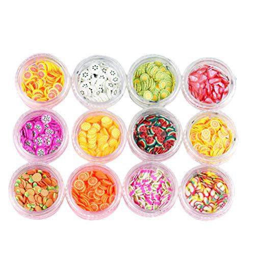 Lurrose 12 tipos de caja de frutas Slice Fruit Slime Nail Art Making Supply Fruit serie DIY decoración de uñas
