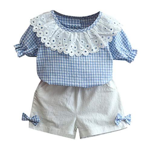 BURFLY BURFLY Mädchen Baby kurzärmliges Puppenkragen Kariertes Hemd Bogen Dekoration Shorts Freizeitkleidung