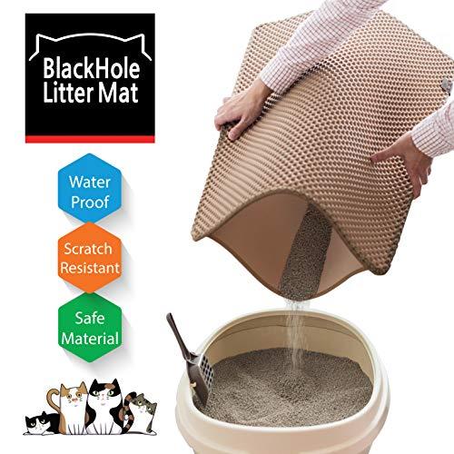 BlackHole Cat Litter Mat - Extra Large Size Rectangular 30' X 23' (Beige)