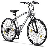 Licorne Bike - Bici da trekking, 28 pollici, per ragazzi, ragazze, donne e uomini, cambio Shimano a 21 marce – Life M-V, Bambina, grigio/nero, 28 inches