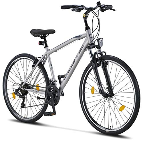 Licorne Bike Premium Trekking Bike in 28 Zoll - Fahrrad für Jungen, Mädchen, Damen und Herren - 21 Gang-Schaltung - Herrenfahrrad - Jungenfahrrad - Life M-V - Grau/Schwarz