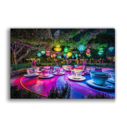 Jigsaw Puzzle 1000 Piece for Adults & Kids, California Colorful Cup Lantern Theme Parks Trees Puzzles Intellectual Decompressing Fun Family Game Large Puzzle Game Toys Gift