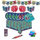 PJ Masks Party Vajilla Kit de fiesta infantil de cumpleaños para 8, 16, 24, 32 - Globos y...