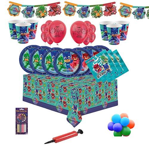 PJ Masks Party Tableware Kit per feste di compleanno per bambini per 8, 16, 24, 32 - Palloncini semplici e candele