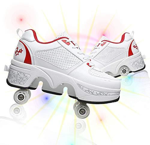 Patines en línea 2 en 1 Zapatos de múltiples propósitos Patines Roller Deformación ajustable Patinaje de rodillos de doble fila para hombre y hembra Adulto Regalo para principiantes,White red,40