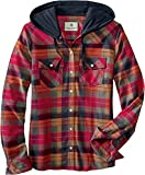Legendary Whitetails Women's Standard Lumber Jane Hooded Flannel Shirt, Falling Leaves Plaid, Small