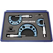 Accusize Industrial Tools 0-3 inch by 0.0001'' Ultra-Precision Outside Micrometers Carbide Tipped 3 Pc Set, Eg00-0903