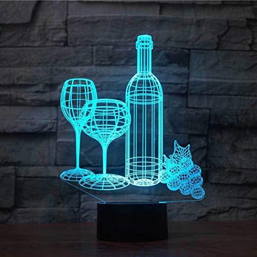Wijnglas 3D modelleerfles tafellamp LED nachtlicht acryl 7 kleuren kerstcadeau voor kinderen verlichting voor slaapdecoratie slaapkamer