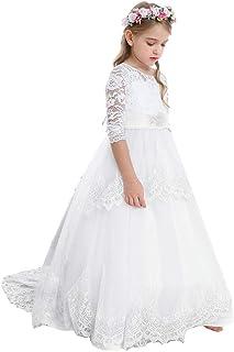 Bow Dream ガールズドレス 女の子のドレス ピアノ発表会ドレス フォーマルドレス ロングドレス 長袖 レース チュール 花嫁の介添えラインストーン
