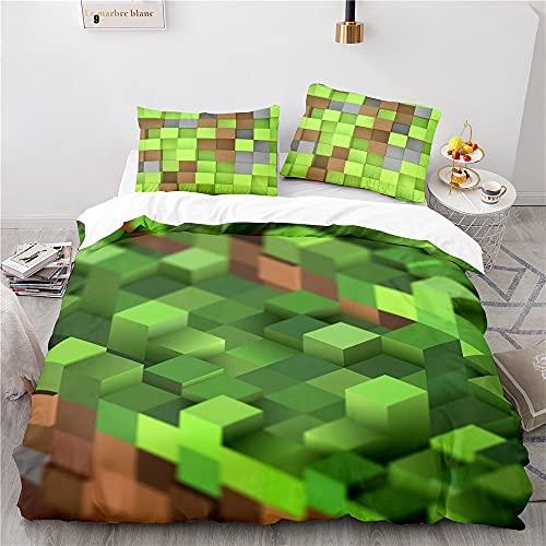 NICHIYOBI Minecraft Juego de ropa de cama – Funda de edredón y funda de almohada, microfibra, impresión digital 3D de tres piezas (1,140 x 210 cm)