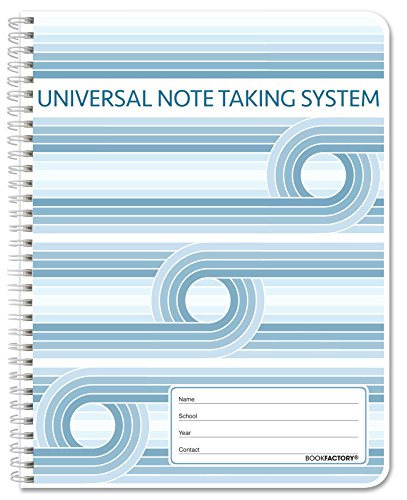 "BookFactory Universal Note Taking System (Cornell Notes) / NoteTaking Notebook - 120 Pages, 8 1/2"" x 11"" - Wire-O (LOG-120-7CW-A(Universal-Note))"