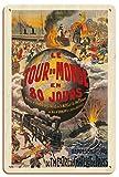 Pacifica Island Art La Vuelta al Mundo en 80 días (Le Tour du Monde en 80 Jours) - Julio Verne - Théâtre du Châtelet - Póster Teatro de L. Charbonnier c.1874 - Letrero de Madera 20x30cm