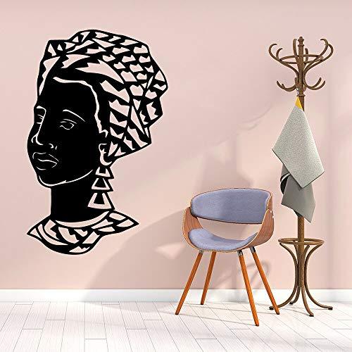 Vestido tradicional africano Maquillaje Bufanda Mujeres Etiqueta de la pared Vinilo Arte Calcomanía Dormitorio Sala de estar Salón de belleza Estudio Oficina Decoración para el hogar Mural