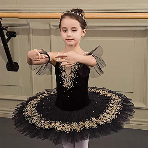BBOOY Falda tutú de Leotardo de Ballet de Tul para niñas, Leotardo, Ropa de Baile de Bailarina, Vestido de Princesa Escalonado, Trajes de Cisne,Negro,170cm