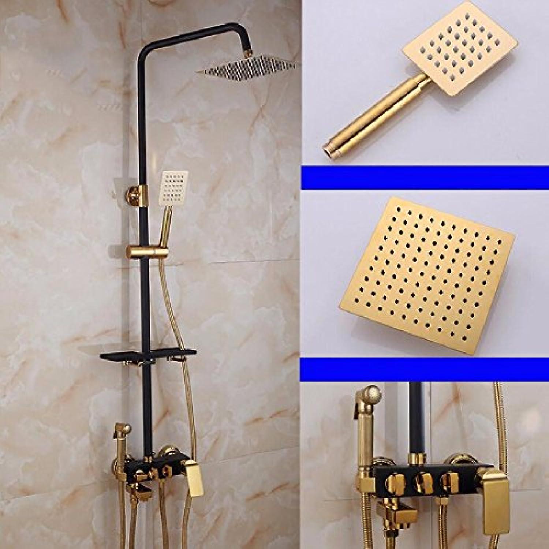 CJSHV-Europische Schwarze Gold Voller Kupfer Hauptteil Vier Stnde Dusche, Dusche Mit Golden Shower Nozzle