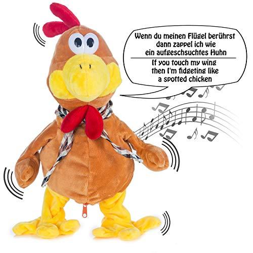 GOODS+GADGETS Tanzender & Sprechender Gockel Plüschtier Hahn Singendes Stofftier Huhn - Spielt Melodie und flattert wild durch die Gegend