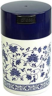 Teavac 6-Ounce Vacuum Sealed Tea Storage Container, Blue Cap and White Body/Floral Design