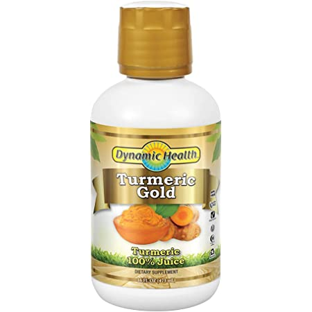 Dynamic Health Turmeric Gold | for Joint Health & Strength | Turmeric 100% Juice | No Gluten & Vegetarian | 16 oz
