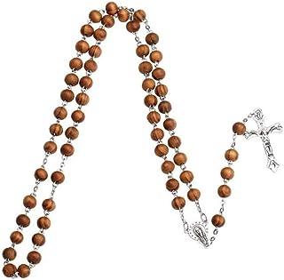 CULER Católica Cruz del Rosario de Madera Religiosa Cuentas de Collar Hecho a Mano Redondo Collares Regalo de Bolas