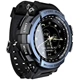 WWJJLL Männer Smart-Sport-Uhr, Tactical Military-Männer, Außen Pedometer Bluetooth 4.0 Wandern Wasserdicht Jungen beobachten,Blau