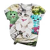 Blusa de Camiseta con Cuello Redondo y Estampado de Animales en 3D de Manga Corta para Mujer Linda Camiseta de Estilo de Moda (Green, s)