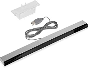 USB Wii Sensor Bar Dolphin Bar, Replacement Infrared Ray Motion Sensor Bar for Nintendo Wii/Wii U/PC Dolphin -Black & Silver