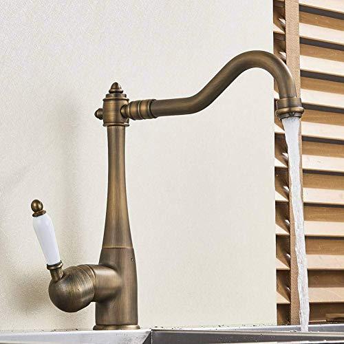 XUSHEN-HU Grifo de la cocina fregadero latón europeo grifo de la cuenca sola manija cascada grifo mezclador agua caliente y fría baño grifos fregadero baño