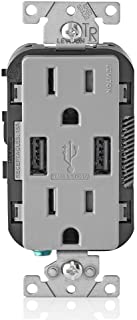 Leviton T5632-GY USB Charger/Tamper-Resistant Duplex Receptacle, 15-Amp, Gray, 1-Pack