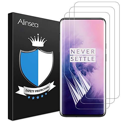 Alinsea [3 Stück] für Oneplus 7 Pro/Oneplus 7T Pro Schutzfolie, Fingerabdruck-ID unterstützen, Hüllefre&lich, [kein Glas] vollständige Abdeckung Klar HD Weich TPU Bildschirmschutz Bildschirmschutzfolie
