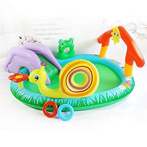 HUA JIE Aufblasbare Rutsche Für Pool, Groß Hüpfburg Pool PVC Easy Set Aufstellpool Mit Pumpe Für Baby Drinnen Outdoor Garten Wasserpark