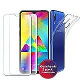Samsung Galaxy M20 Hülle Panzerglas , [1 Handyhülle 2 Panzerglas] Schutzhülle [Ultra Dünn] Folie Glas 9H Panzerglasfolie TPU Silikon Hülle Cover Tasche Schale Transparent Crystal für Samsung Galaxy M20