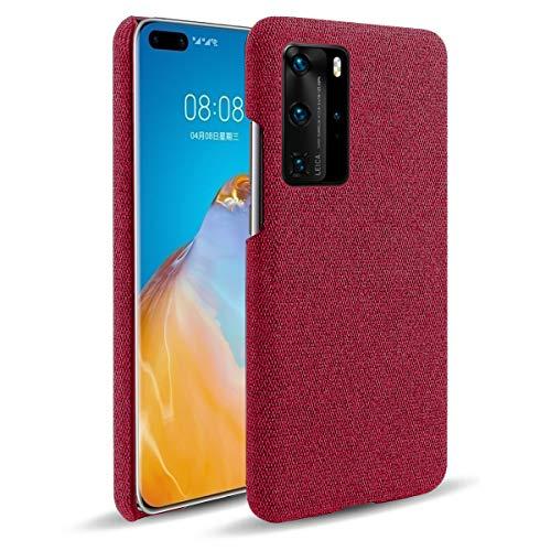 Oihxse Business Housse Case Compatible pour Huawei Mate 20X Coque en Tissu Toile Full Protection Étui Ultra Mince Léger Anti-Slip Antichoc Antifouling Hybride Cover,Rouge