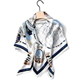 Jeelow 100 Real Mulberry Silk Scarfs 36in Square Shawl Wrap For Women Hair Wrapping (Blue white)