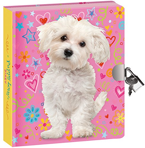 Peaceable Kingdom Puppy Love 6.25  Lock and Key, Lined Page Diary for Kids