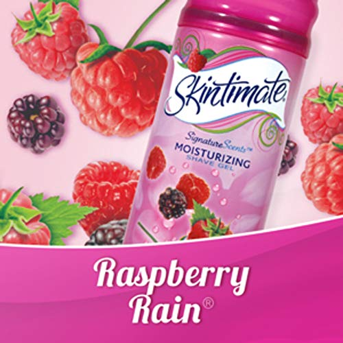 Skintimate PX-564 Signature Scents Moisturizing Shave Gel for Women, Raspberry Rain Scent with Vitamin E and Olive Butter - 7 Ounce Twin Pack
