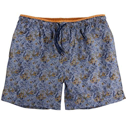 Kitaro Short de Bain Short de Bain Bleu-Gris-Ocre Motif Floral XXL, 2xl-8xl:8XL