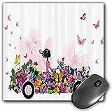 Mouse Pad Gaming Funcional Conjunto de coches Alfombrilla de ratón gruesa impermeable para escritorio Mujer conduciendo un coche floral con mariposas en el aire Mujer en el tema de las niñas ative,mul