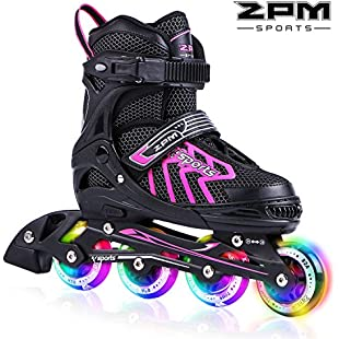 2pm Sports Brice Kids Adjustable Illuminating Inline Skates with Full Light up LED Wheels, Fun Flashing Roller Skates for Boys and Girls - Pink M:Cnsrd