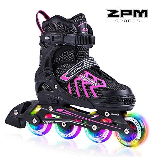 2pm Sports Brice tamaño ajustable iluminación patines en línea para niños y adolescentes con luz completa hasta LED ruedas, diversión flashing roller skates para niños y niñas - Rosado M(35-38)
