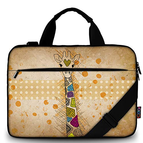 iColor 11.6-12 13 13.3-inch Laptop Shoulder-Bag - Canvas Computer Tablet Carrying Case 13-13.3 inch Notebook Briefcase (12' ~13.3', Giraffe)