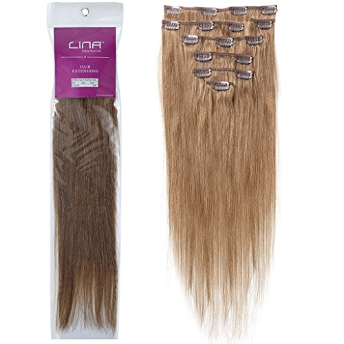Lina Silky Soft Human Hair Women Clip In Straight Extensions Hairs #06 Chestnut Brown