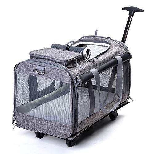 WYXHCJZ Haustierwagen, Haustier Carrier Bag, Hunde-Katzenrollen-Rucksack, atmungsaktive Haustier Schlepper Katz Hundekäfig,Gray