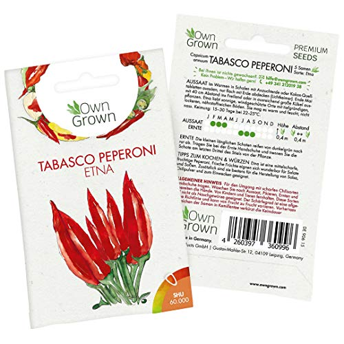 Peperoni Samen Tabasco Etna: 5 Premium Peperoni Tabasco Samen zum Anbau von Peperoni Pflanzen für Balkon, Kübel und Garten – Sorte Etna Peperoni scharf – Zertifizierte Pepperoni Samen von OwnGrown