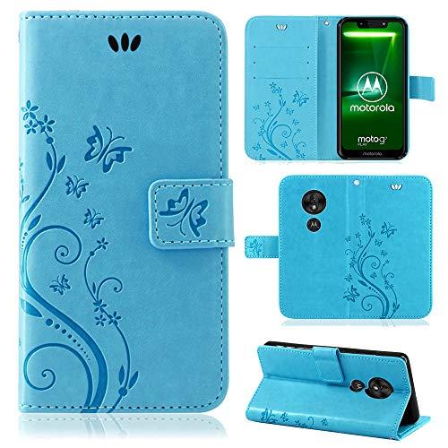 betterfon | Motorola Moto G7 Play Hülle Flower Hülle Handytasche Schutzhülle Blumen Klapptasche Handyhülle Handy Schale für Motorola Moto G7 Play Blau