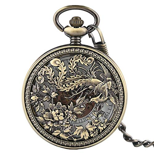Accurate Pocket watch Vintage Phoenix Mechnical Pocket Watches Charm Lucky Pendant Flower Carving Auto Watch Men Women Unisex Vintage JoinBuy.R
