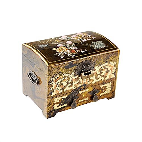 XIAOXIAO Caja de joyería de madera con cajón vitrina estilo chino organizador de escritorio almacenamiento tallada a mano caja de regalo para niñas con espejo y cerradura