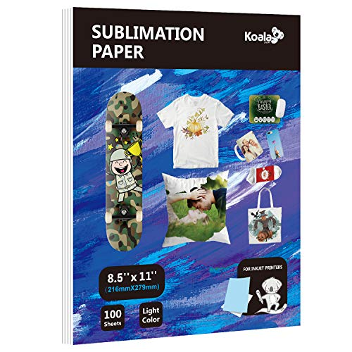 Koala Sublimation Paper 8.5X11inch for Heat Transfer DIY gift Work with any Printer which Match Sublimation Ink(Blue Back)