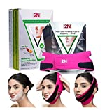 Face Firming Mask, Face Slimming Cheek Mask, Chin Lift Up Mask with Bandage Belt for Tightening Face Skin and Making V-line Chin Moisturizing (7PCS+Bandage)