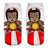 COZOCO Unisex Divertido 3d Moda Gato Impreso Casual Calcetines Calcetines De Tobillo De Corte Bajo Lindos (una talla, H)